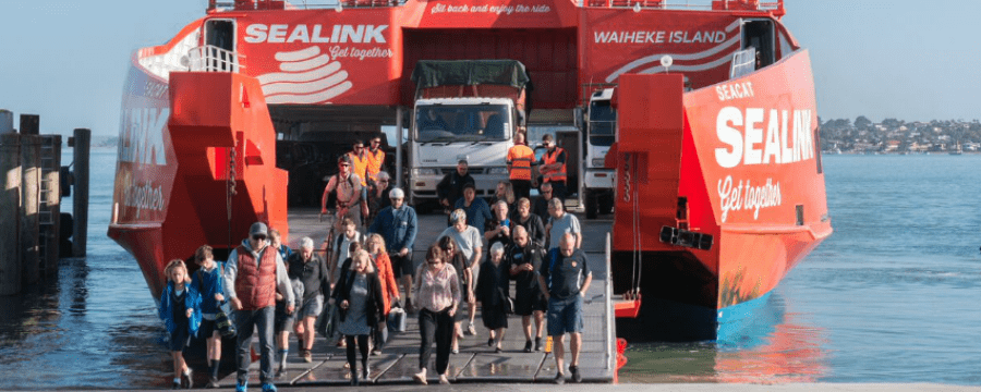 SeaLink ferry the Seacat or big red, passengers disembarking
