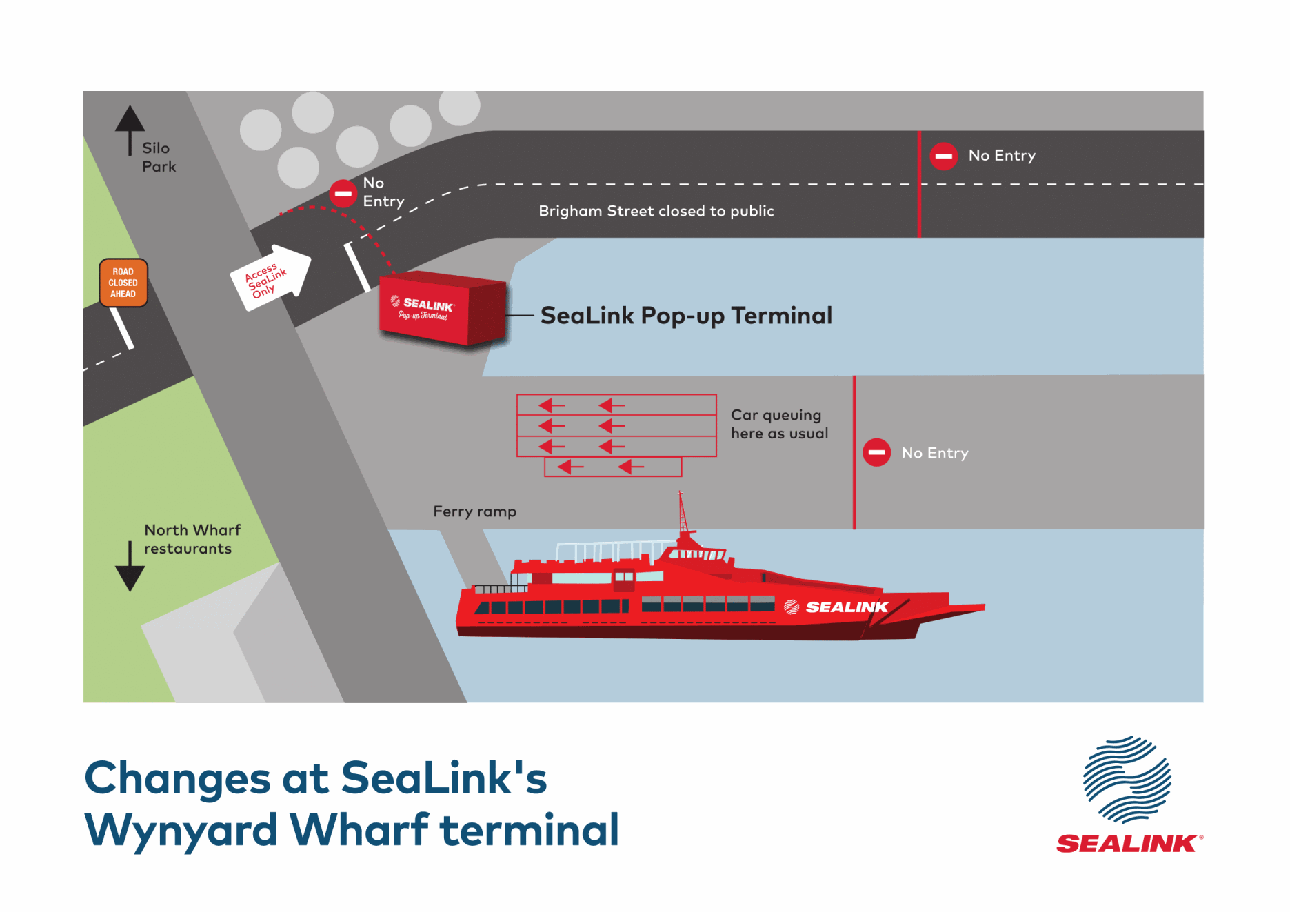 SeaLink Wynyard Wharf terminal road changes